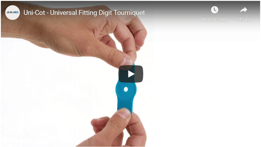 Uni-Cot | Digital Tourniquet | Universal Fitting Finger and Toe Tourniquet | One-Size Fits All Digital Tourniquet | One Size Fits All Digit Tourniquet | Hand Surgery | Emergency Medicine | Medical Devices | Mar-Med | Ring Tourniquet | Digital Ring Tourniquet | Nailbed Repair Tool
