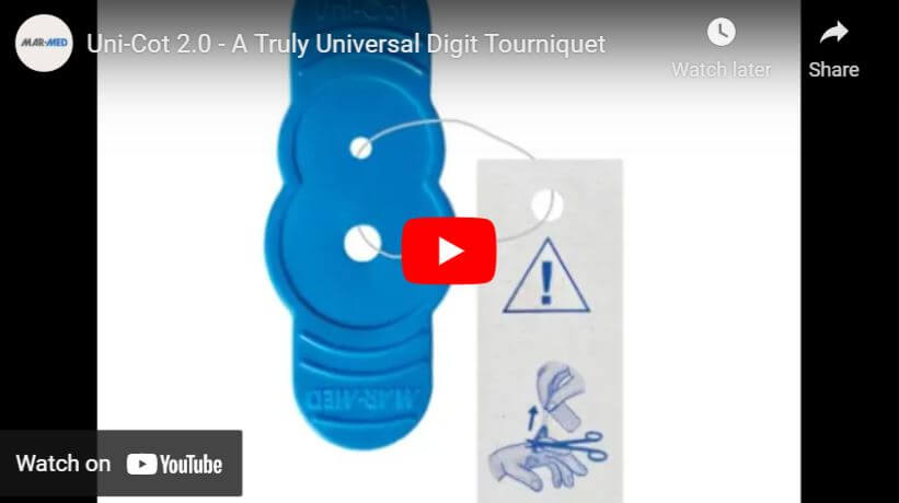 Uni-Cot 2.0 | Finger and Toe Tourniquet | Universal Fitting Digit Tourniquet | One-Size Fits All Digital Tourniquet | Digital Tourniquet | Emergency Medical Devices | Hand Surgery | Mar-Med